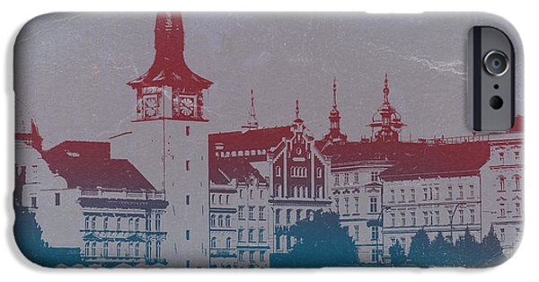 Old Town Digital iPhone Cases - Golden Prague iPhone Case by Naxart Studio