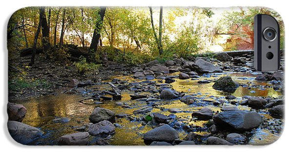 West Fork iPhone Cases - Golden Reflection in the Canyon of  Light iPhone Case by Heather Kirk