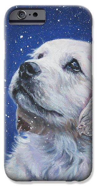 Golden Retriever Pup in Snow iPhone Case by L A Shepard