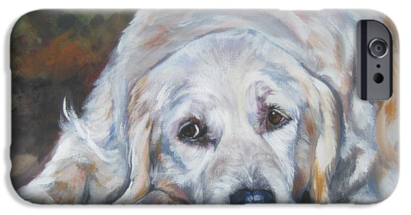 Golden Puppy iPhone Cases - Golden Retriever Resting iPhone Case by Lee Ann Shepard