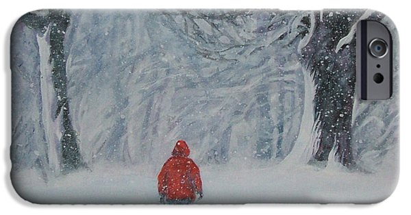 Puppy Paintings iPhone Cases - Golden Retriever winter walk iPhone Case by Lee Ann Shepard
