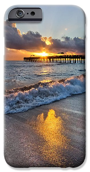 Tidal Photographs iPhone Cases - Golden Shadows iPhone Case by Debra and Dave Vanderlaan