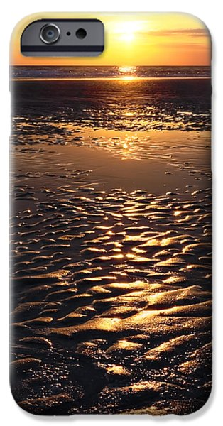 Abstract Waves iPhone Cases - Golden Sunset On The Sand Beach iPhone Case by Setsiri Silapasuwanchai