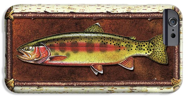 Golden Trout iPhone Cases - Golden Trout Lodge iPhone Case by JQ Licensing