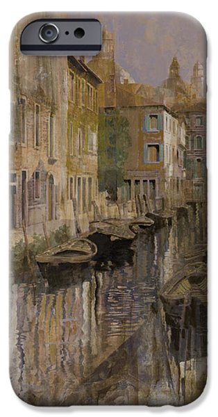 Boat iPhone Cases - Golden Venice iPhone Case by Guido Borelli
