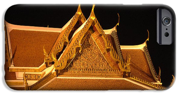 Historic Site iPhone Cases - Golden Wat Temple Thailand iPhone Case by Bob Christopher