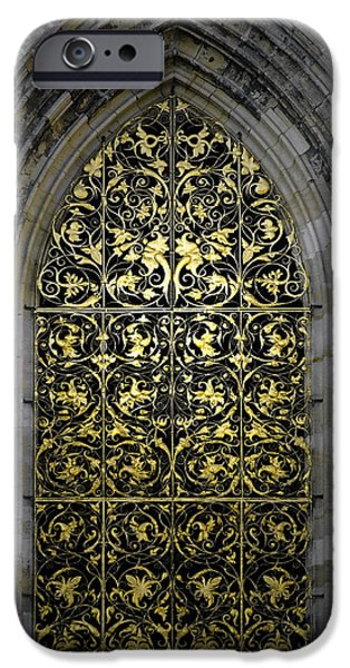 Golden Window - St Vitus Cathedral Prague iPhone Case by Christine Till