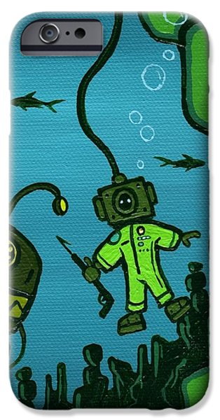 Kids Art Paintings iPhone Cases - Gone Fishn iPhone Case by Dan Keough