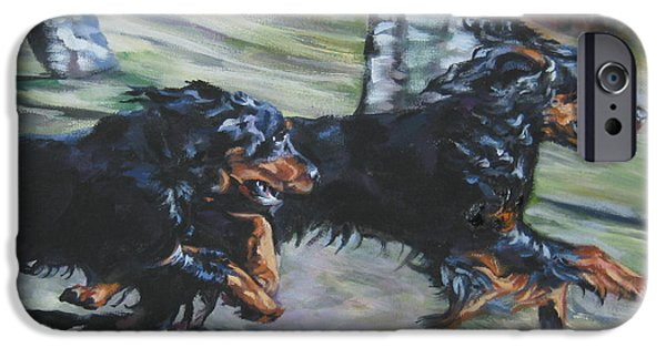 Gordon Setter iPhone Cases - gordon Setter Autumn run iPhone Case by Lee Ann Shepard
