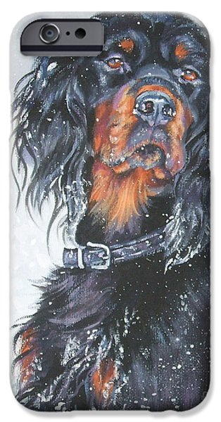 Gordon Setter iPhone Cases - Gordon Setter in snow iPhone Case by Lee Ann Shepard