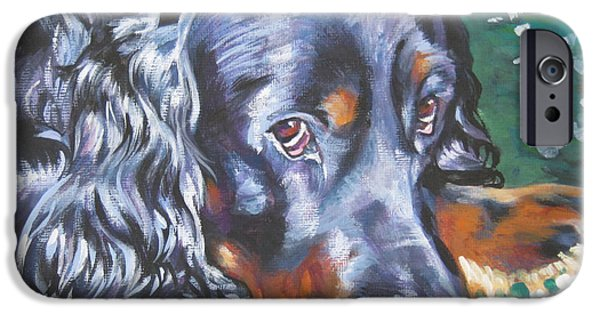 Gordon Setter iPhone Cases - Gordon Setter in wildflowers iPhone Case by Lee Ann Shepard