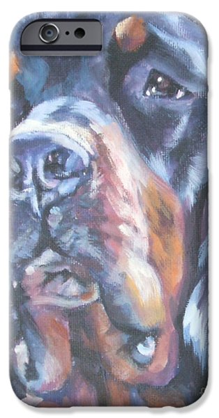 Gordon Setter iPhone Cases - Gordon Setter Portrait iPhone Case by Lee Ann Shepard