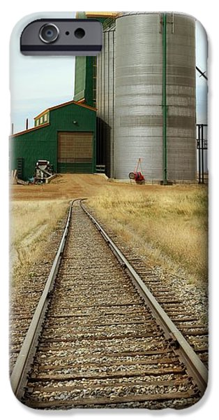 Agricultural iPhone Cases - Grain Silos And Railway Track iPhone Case by Tony Craddock