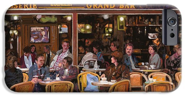 Street Scene Paintings iPhone Cases - Grand Bar iPhone Case by Guido Borelli
