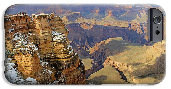Grand Canyon iPhone Cases - Grand Canyon Overlook in Snow iPhone Case by Jack Schultz