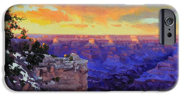 Grand Canyon iPhone Cases - Grand Canyon Winter Sunset iPhone Case by Gary Kim