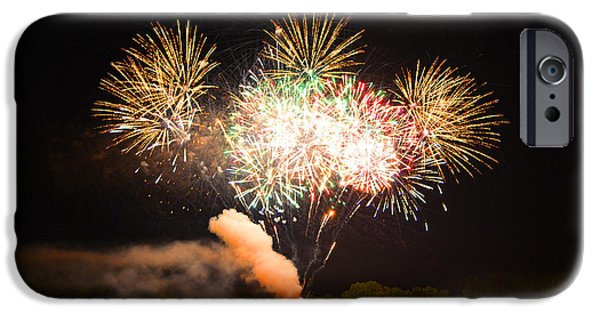 4th July Photographs iPhone Cases - Grand Finale of Fireworks Over The Lake iPhone Case by Sandi OReilly