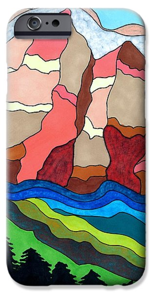Representative Abstract Mixed Media iPhone Cases - Grand Tetons iPhone Case by Lesa Weller