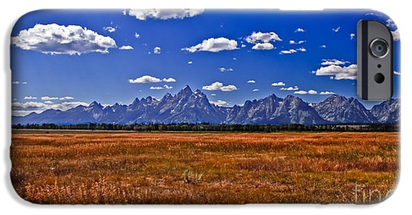 Haybale iPhone Cases - Grand Tetons  Mountains iPhone Case by Robert Bales