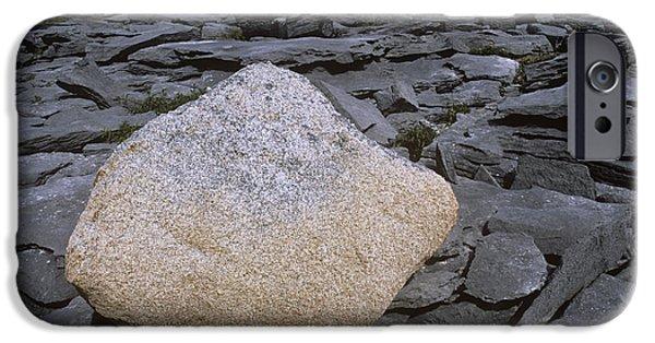 Granite Bedrock iPhone Cases - Granite Boulder On Limestone Beds iPhone Case by Dirk Wiersma