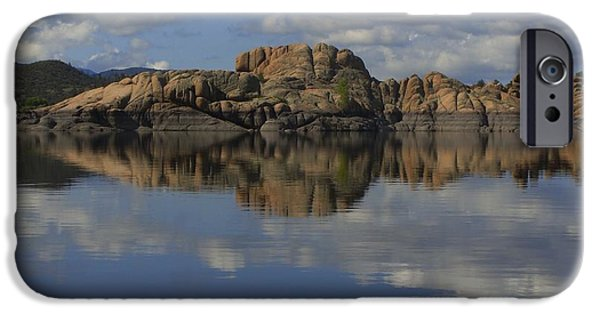 Watson Lake iPhone Cases - Granite Dells Reflected iPhone Case by Ramie Liddle