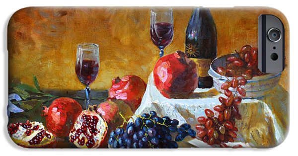 Table Wine iPhone Cases - Grapes and Pomgranates iPhone Case by Ylli Haruni