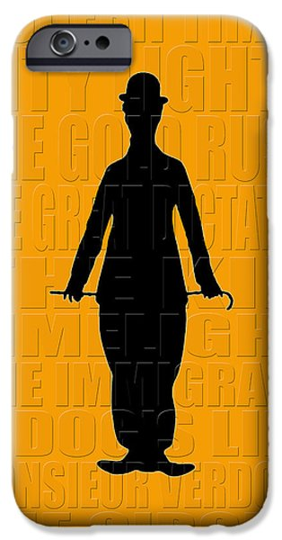 Charlie Chaplin iPhone Cases - Graphic Chaplin iPhone Case by Andrew Fare