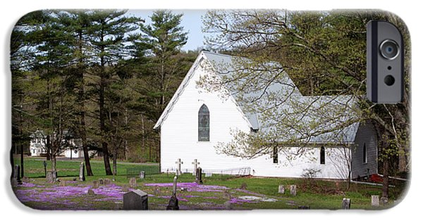 Final Resting Place Photographs iPhone Cases - Graveyard Phlox Country Church iPhone Case by John Stephens