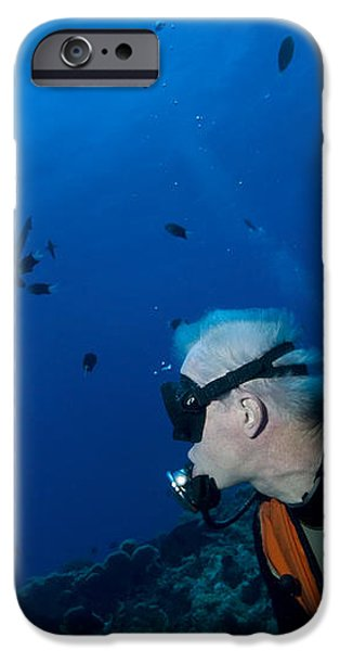 Gray Reef Shark With Diver, Papua New iPhone Case by Steve Jones