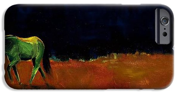 Horse iPhone Cases - Grazing In The Moonlight iPhone Case by Frances Marino