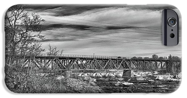 Androscoggin iPhone Cases - Great Falls RR Bridge 10477b iPhone Case by Guy Whiteley