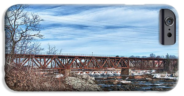 Androscoggin iPhone Cases - Great Falls RR Bridge 10477c iPhone Case by Guy Whiteley