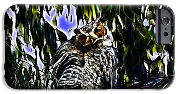 Great Horned Owl - 4228 - Fractal - S iPhone Case by James Ahn