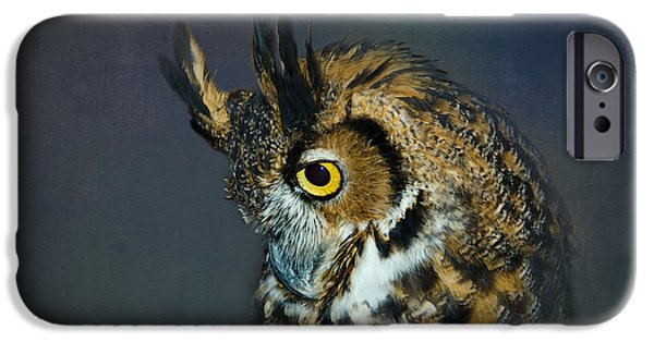 Preditor iPhone Cases - Great Horned Owl iPhone Case by Betty LaRue