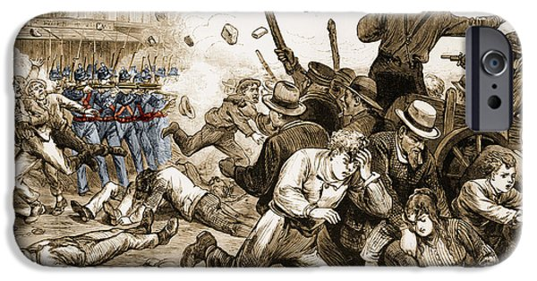 Unrest iPhone Cases - Great Railroad Strike 1877 iPhone Case by Photo Researchers