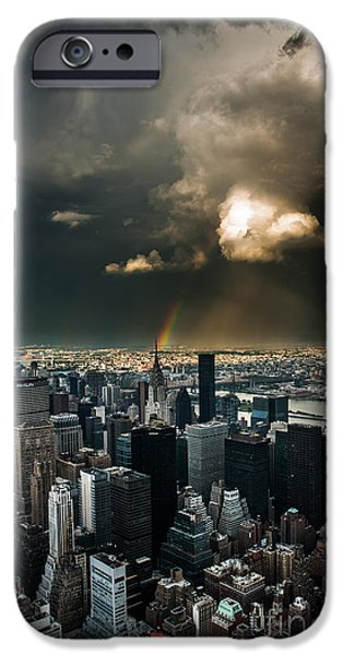 High Tower iPhone Cases - Great Skies over Manhattan iPhone Case by Hannes Cmarits