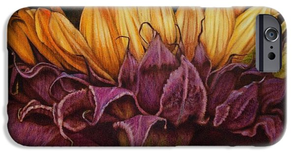 Water Colors Pyrography iPhone Cases - Great Sunflower iPhone Case by Cynthia Adams