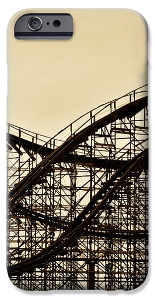 Great White Roller Coaster - Adventure Pier Wildwood NJ in Sepia iPhone Case by Bill Cannon