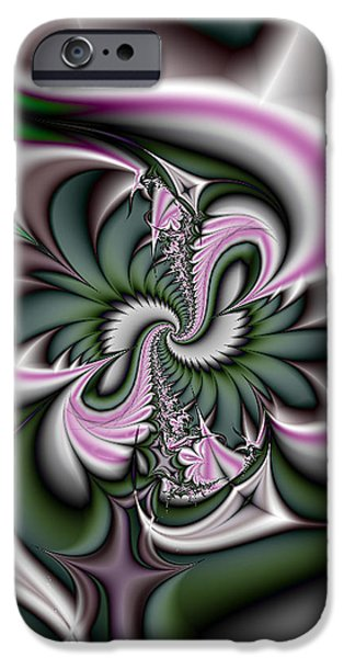 Gina Manley iPhone Cases - Green and Pink Fractal iPhone Case by Gina Lee Manley