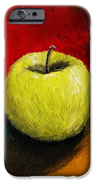Green Apple with Red and Gold iPhone Case by Michelle Calkins