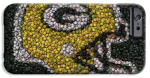 Mosaic iPhone Cases - Green Bay Packers Bottle Cap Mosaic iPhone Case by Paul Van Scott