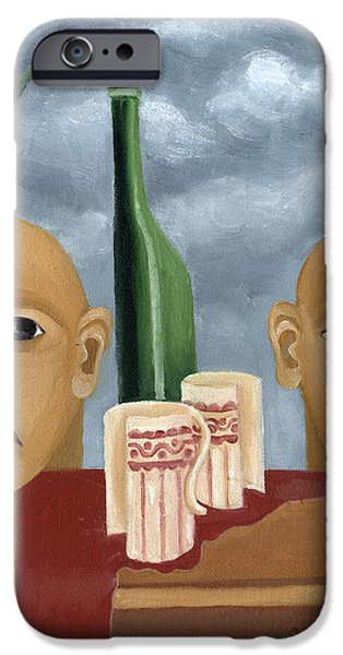 Green bottle Agony surrealistic artwork with crying heads cut cups flowing red wine or blood frame   iPhone Case by Rachel Hershkovitz