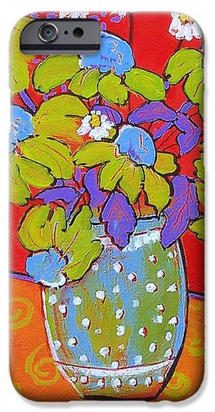 Green Daisy Bouquet iPhone Case by Blenda Studio