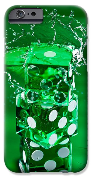Water Play iPhone Cases - Green Dice Splash iPhone Case by Steve Gadomski