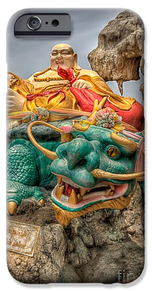 Buddhism iPhone Cases - Green Dragon  iPhone Case by Adrian Evans