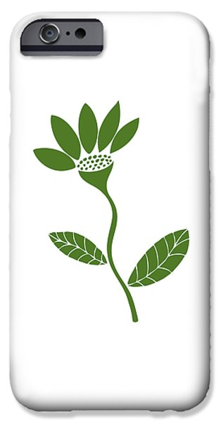 Large Drawings iPhone Cases - Green Flower iPhone Case by Frank Tschakert