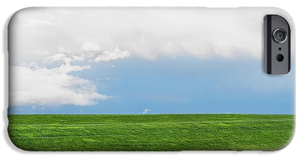Field. Cloud iPhone Cases - Green Grassy Field And Blue Sky iPhone Case by Tatiana Boyle