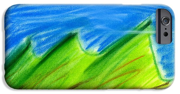 Expressionism Pastels iPhone Cases - Green HIlls iPhone Case by Hakon Soreide