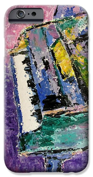 Splashy Paintings iPhone Cases - Green Piano Side View iPhone Case by Anita Burgermeister