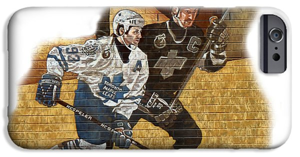 Wayne Gretzky iPhone Cases - Gretzky and Gilmour iPhone Case by Andrew Fare